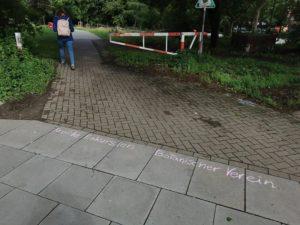 Abbildung 1: Beginn der Kreideexkursion an der Sievekingdamm Ecke Hammer Landstraße