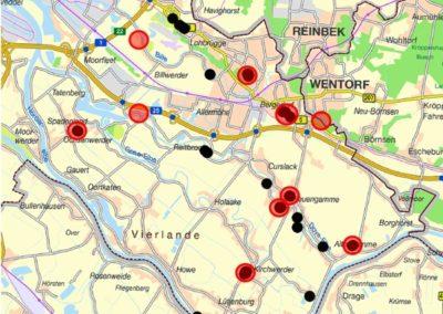 Wiesen-Goldstern im Bezirk Bergedorf (schwarz) Lage der Friedhöfe (rot)