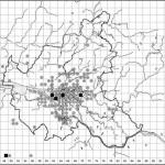 Senecio inaequidens (dunkle Quadrate: Funde vor 1996, helle Kreise: Funde seit 1996)